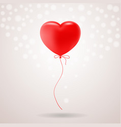 Red festive balloon in shape of heart isolated on vector