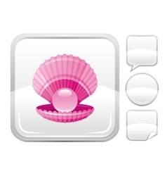 Sea beach and travel icon with scallop shell with vector
