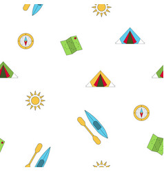 seamless pattern camping vector image vector image