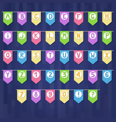 Set of colored cartoon flag garlands with vector
