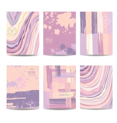Set of colorful geometric brochures and cards vector