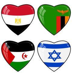 Set of images of hearts with the flags of Egypt vector image vector image