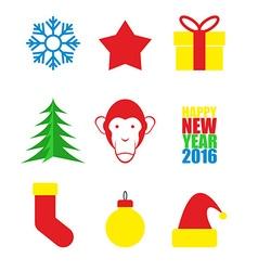 Set Symbols of new year Christmas tree and monkey vector image vector image