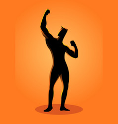 silhouette of a bodybuilder pose vector image