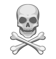 skull and crossbones icon cartoon style vector image