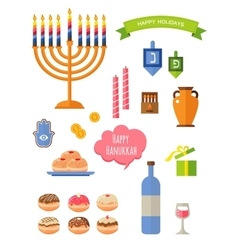 symbols of hanukkah celebration icons set vector image vector image