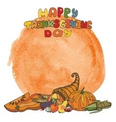 Thanksgiving dayDoodle harvestwatercolor splash vector image vector image
