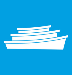 Wooden boat icon white vector