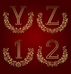 Y z vintage monograms and 1 2 numbers in floral vector