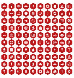 100 calories icons hexagon red vector