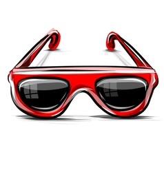 Red sunglasses icon isolated on white vector