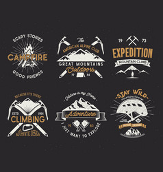 Set of mountain climbing labels mountains vector