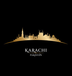 Karachi pakistan city skyline silhouette black vector