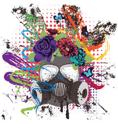 Gas mask with roses vector