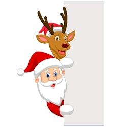 Cartoon santa and red nose reindeer vector