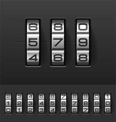 Combination code lock numbers vector