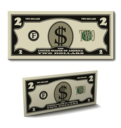 Two dollar paper bill banknote vector
