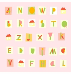 Hand drawn trendy alphabet on pink background vector