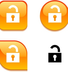 Padlock glossy button vector