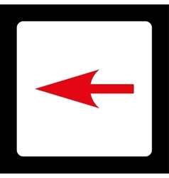 Sharp left arrow flat red and white colors rounded vector