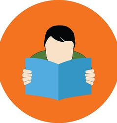 Reading person faq concept flat design icon in vector