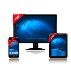 monitor and tablet computer and mobile phone vector image