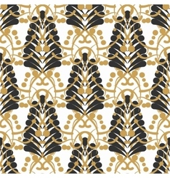 Stylized damask leaf or feather seamless pattern vector