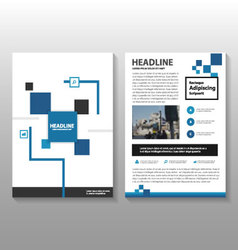 Blue black square annual report set vector