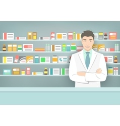 Pharmacist at counter in pharmacy opposite shelves vector