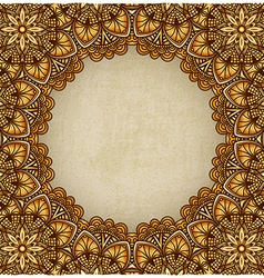 Golden frame floral ornament old background vector