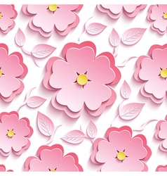 Floral seamless pattern with 3d sakura and leaf vector