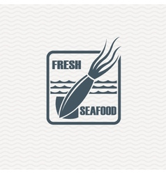 Monochrome seafood icon vector