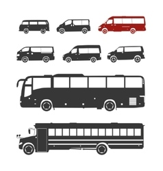Detailed bus silhouettes set vector