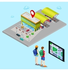 Mobile navigation on tablet isometric city vector