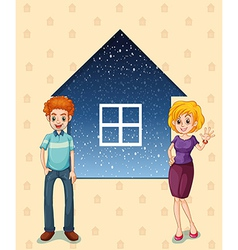 A mother and a father in front of the house vector image vector image
