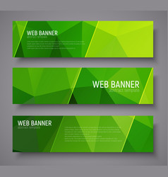 banner with green polygonal background vector image vector image
