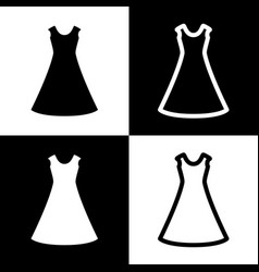 Beautiful long dress sign black and white vector