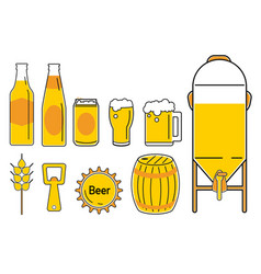 beer icon line cartoon 2 vector image vector image