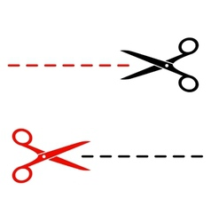 black and red scissors silhouette with cutting vector image