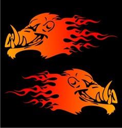 Burning boar head vector