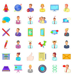 Business project icons set cartoon style vector