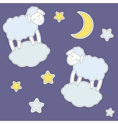Cute sheepmoon and stars vector image vector image
