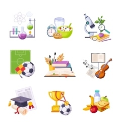 Different school classes and activities related vector