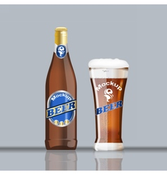 Digital glass of brown beer vector image vector image