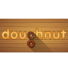Doughnut word and top view of chocolate doughnuts vector