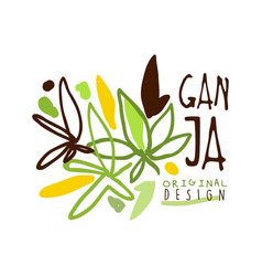 Ganja label original design logo graphic template vector