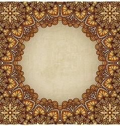 Golden frame floral ornament old background vector
