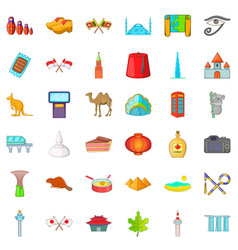 Good landmark icons set cartoon style vector