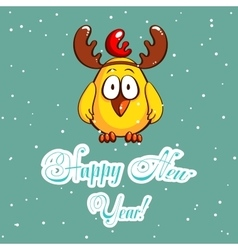 Greeting card chick with antlers vector