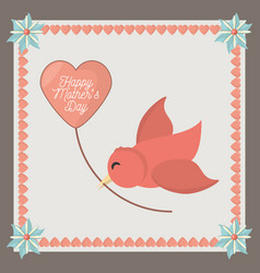 Happy mothers day card greeting bird heart balloon vector
